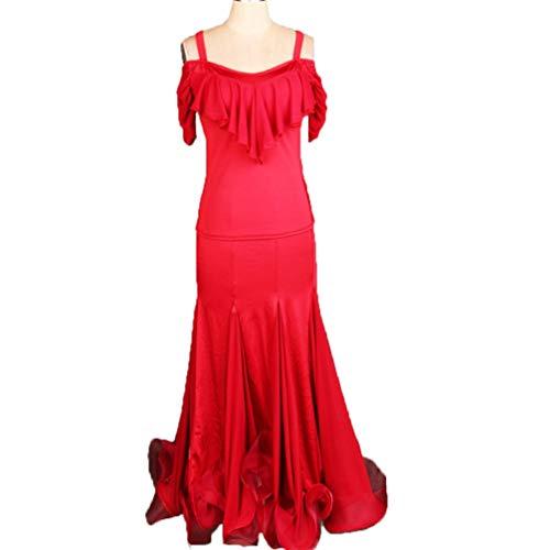 Senza Da Wqwlf s Pieghe Costume Moderno Di Per Sala Prestazione Abbigliamento Balze Donne Maniche Ballo Spalline Red Abiti Valzer L Pratica dttLRrq