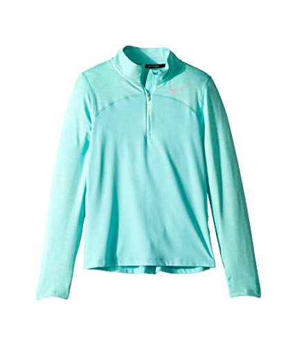 (Nike Girls' Dry Element Long Sleeve 1/2 Zip Pullover (Light Aqua, Small))