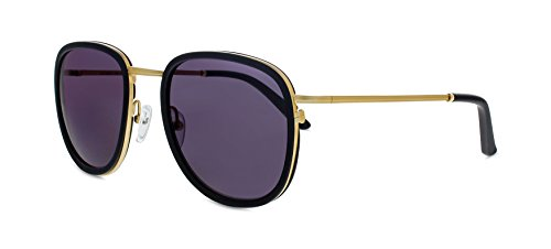 Smoke X Mirrors Golden Brown Unisex Sunglasses SM111 Based in New York City, Handmade in France (Matte Black - Matte Gold, - New Sunglasses York City