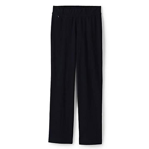 (Lands' End Women's Plus Size Starfish Straight Leg Elastic Waist Pants Mid Rise, 1X, Black)