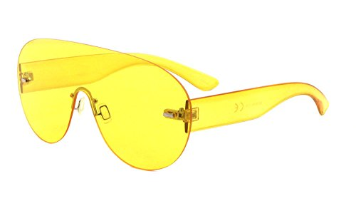 Aspen Rimless Mono One Piece Shield Sunglasses (Yellow Transparent Frame, Yellow) (Shield Sunglasses)