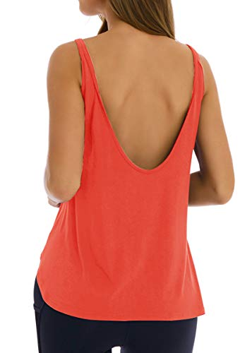 Fihapyli Women's Open Back Yoga Tops Backless Workout Tank Tops Sleeveless Sports Tank Gym Tops Sexy Yoga Shirt Activewear Workout Tops for Womens Cute Workout Shirts Backless Active Tops Coral S