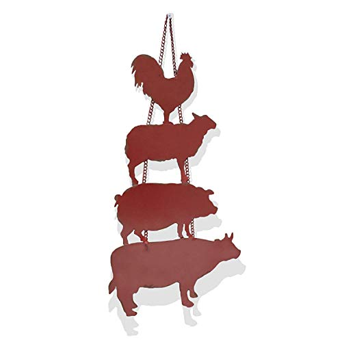 Barnyard Designs Galvanized Rooster, Sheep, Pig, Cow Farm Animal Cut Out Silhouette Rustic Magnetic Wall Decor Farm Country Inspired 24