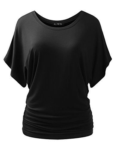 (ALL FOR YOU Women's Round-Neck Kimono Dolman Short Sleeve Top Black Medium)