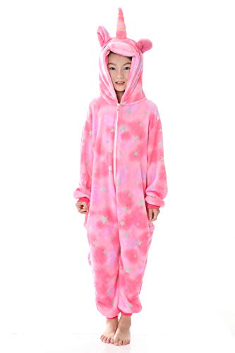 Ideas For Halloween Costumes From Home Clothes (JYUAN Kids Soft Unicorn Onesie Animal Pajamas Halloween Cosplay Costume Sleepwear Gift for Girls and Boys (Pink Stars, 120(Suggest Height)