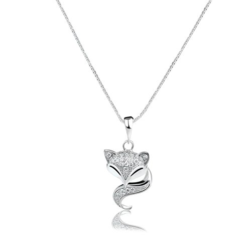 Ginasy 925 Sterling Silver Cute Fox Animal Pendant Necklace & Earrings Set (Fox Pendant)