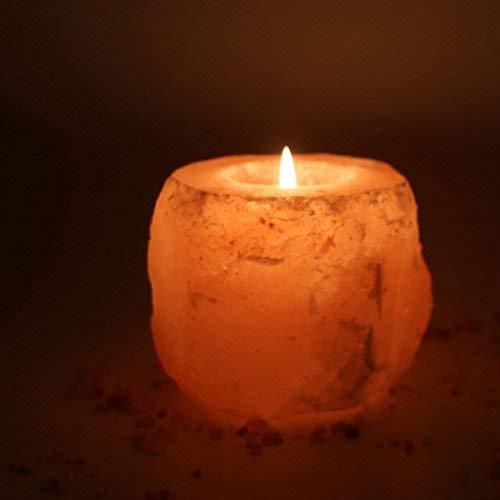 (HijiNa Himalayan Natural Crystal Salt Rock Tea Light Candle Holder (Small Size 3.5x3.5 2 pounds))