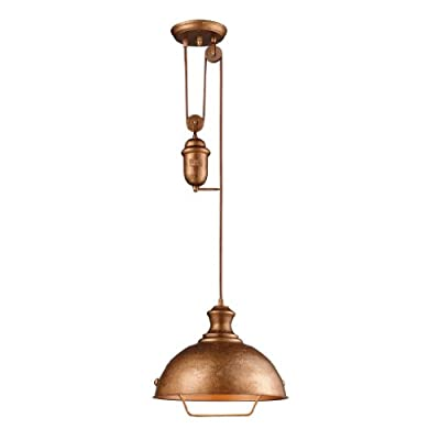 Elk Farmhouse 1-Light Bellwether Pendant, Copper