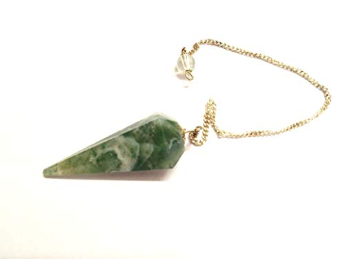 Jet Moss Agate Cone Shaped Pendulum Faceted Top Quality A++ Jet International Crystal Therapy Booklet Gemstone Image is JUST A Reference