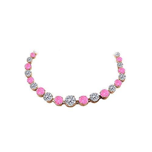 Pink Sapphire Vermeil Necklace (CZ Pink Sapphire Graduated Necklace Rose Gold)