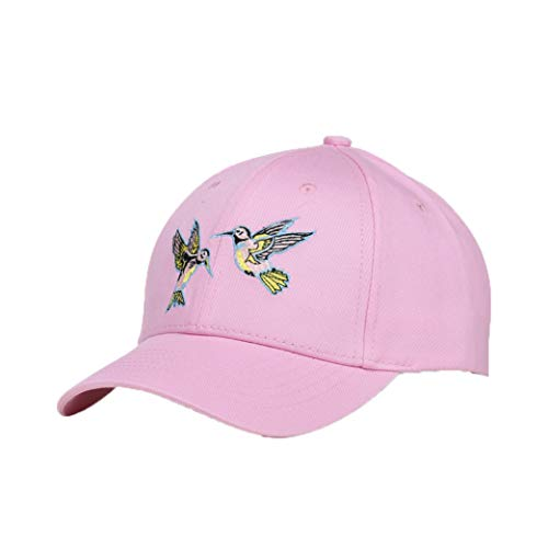 (Women Embroidery Baseball Cap Summer Snapback Bone Cotton Adjustable Sun Visor Hat Camping Golf Hat Pink)