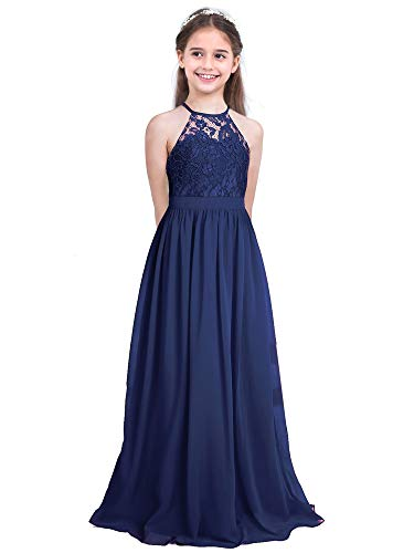 CHICTRY Kids Girls Halter Neck Chiffon Long Party Junior Wedding Evening Prom Maxi Gown Dress Navy Blue 14
