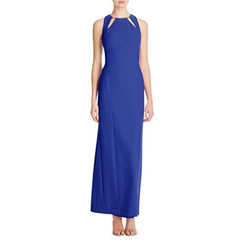 Nicole Miller Womens Crepe Hi Neck Evening Dress Blue 10