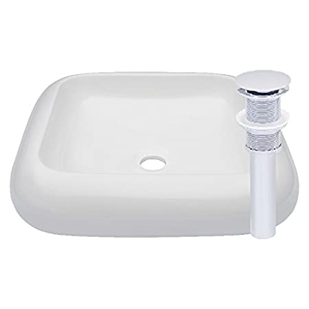 Pop-Up Drain Set Brushed Nickel Novatto BIANCO Ceramic Vessel Sink