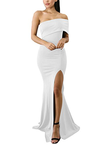 ZKESS Women's Chic Off The Shoulder One Sleeve Slit Maxi Party Prom Dress White Small