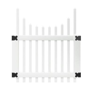4 Ft. X 3-1/2 Ft. Chatham Scalloped Top Spaced White Picket Vinyl Unassembled Fence Gate (Vinyl Fencing Scalloped)