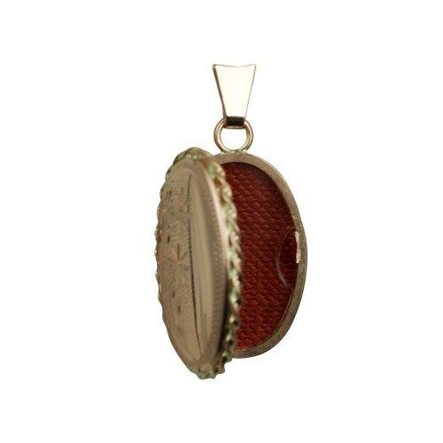 Médaillon 23x16mm oval gravé à la main en or rose 375/1000