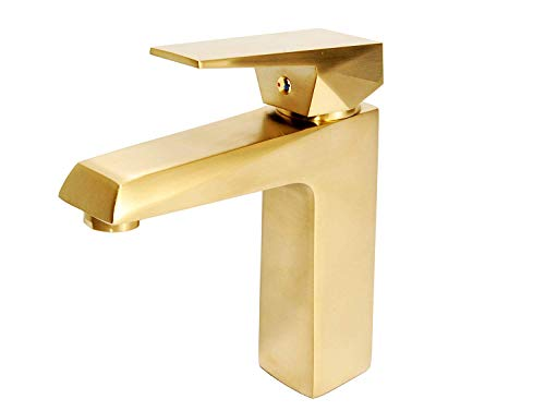 (ISWOEK AM-PRB008 Modern Single-Handle Bathroom Sink Faucet with SUS304 Water Inlet Hose,Solid Brass and Antique Brushed Gold Finished. )