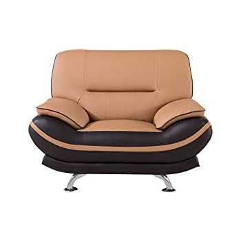 American Eagle Furniture Two-Toned Upholstered Faux Leather Armchair with Added Base Support and Pillow Top Armrests, Yellow/Brown