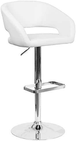Flash Furniture Contemporary White Vinyl Adjustable Height Barstool with Rounded Mid-Back and Chrome Base – CH-122070-WH-GG