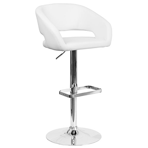 Flash Furniture Contemporary White Vinyl Adjustable Height Barstool with Rounded Mid-Back and Chrome Base -