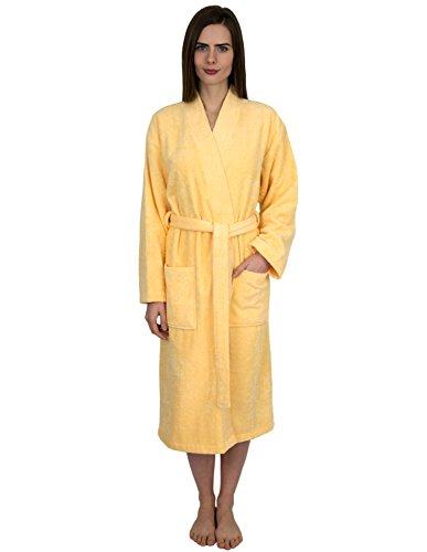 (TowelSelections Women's Robe, Low Twist Cotton Terry Bathrobe X-Small/Small Golden Haze)