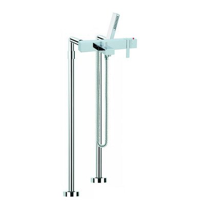 Brick Floor Mount Thermostatic Tub Faucet with Hand Shower Finish: - Wall Brick Tub Mounted