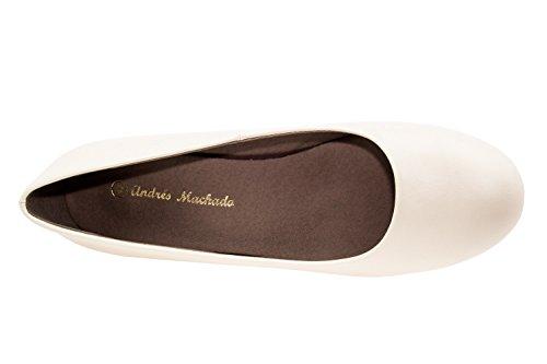 Andres Machado.AM5002BRIDAL.Escarpins Classiques en Soft semelle Beige. Petite et Grandes Pointures du 32/35. 42/45. Pour Femmes. Beige.N