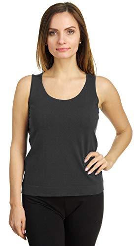 (August Silk Women's Sleeveless Round Neck Silk Twin Shell, Chimney Grey, XLarge)