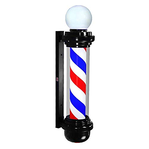 Led Barber Pole Light, Outdoor Barbershop Hair Salon Hairdressing Sign Red White Stripes Wall-Mounted Lamp Waterproof (Color : A)