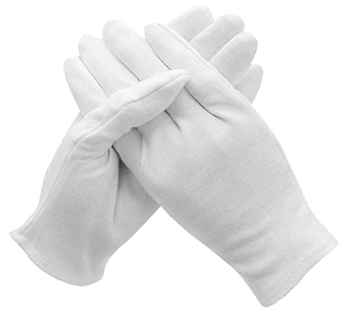 White Cotton Inspection Gloves - 12 Pairs Reusable Soft Handling Lining Working Glove Fits Men/Women Hands, Antistatic Protection & Light Weight For Coin, Jewelry, Silver, Parade, Photo, Art Work