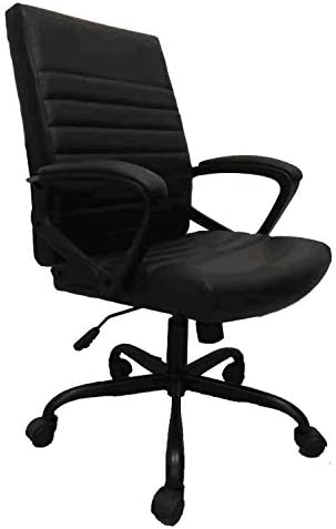 Furmax PU Leather Mid Back Ribbed Office Desk Chair Swivel Ergonomic Chair