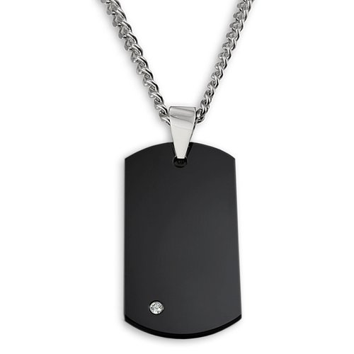 Crucible Jewelry Mens Black Plated Tungsten Carbide Diamond Dog Tag on 24-Inch Curb Chain Pendant Necklace