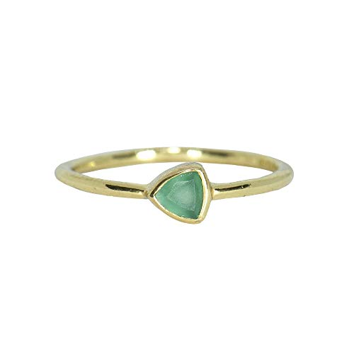 Pura Vida Gold Triangle Chalcedony Ring Size 5 - Gold Plated .925 Sterling Silver Ring