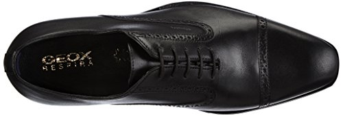 Geox U New Life, Scarpe Stringate Basse Brogue Uomo Nero (Black C9999)