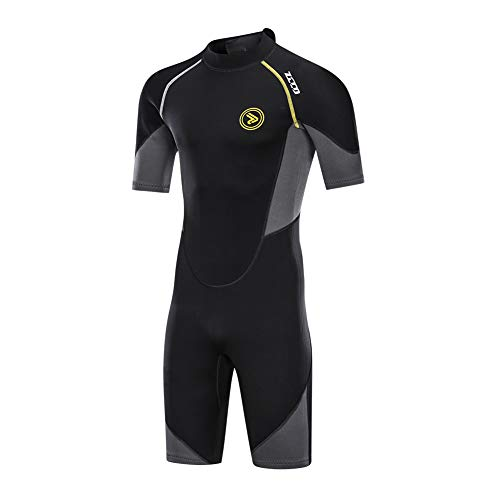 ZCCO Men's Wetsuits 1.5mm Premium Neoprene Back Zip Shorty Dive Skin for Spearfishing,Snorkeling, Surfing,Canoeing,Scuba Diving Suits(XL) (Wet Suit For Men Scuba)