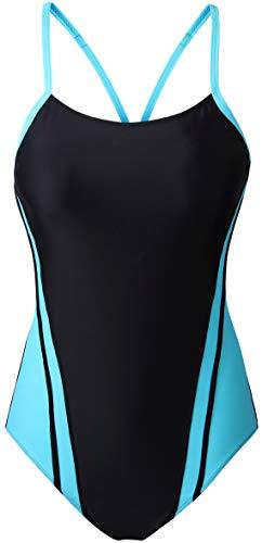 EBMORE Womens One Piece Swimsuit Bathing Suit Athletic Sport Training Exercise Swimwear (US (16-18), Blue)