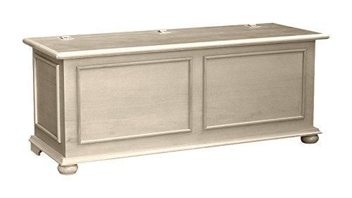 Pieffe Mobili Cipolla Cassapanca, Legno, Bianco patinato, 120x42x50 cm AM010098