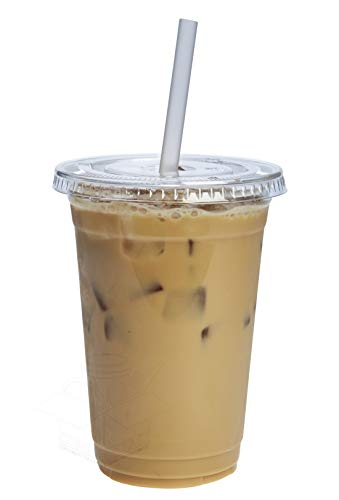 [100 Sets - 20 oz.] Plastic Cups With Flat - Cups Disposable Plastic Lids