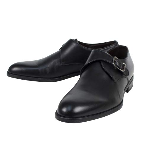 Ermenegildo Zegna Men's 'Avenue Flex' Leather Monkstrap Shoes US 7 EU 8 Black