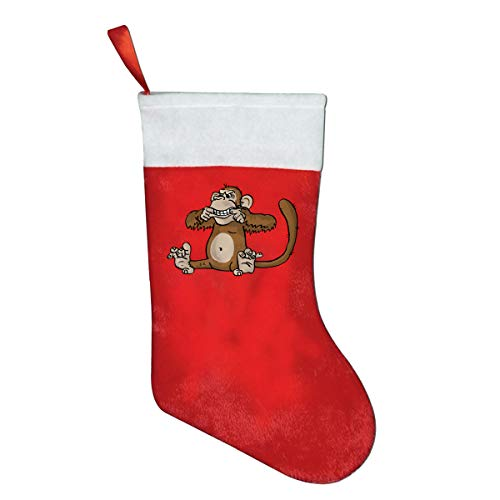 Christmas Sock, Fashion Monkey Cute Pleuche Santa Snowman Stocking For Childrens Gift Bags With Cuff