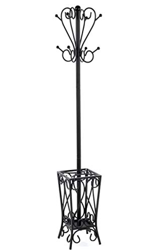 J&M Entryway Metal Coat Rack Tree Stand & Umbrella Holder Clothes Storage Hall Organizer