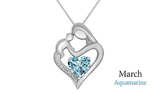 Simulated Aquamarine & White Natural Diamond Accent Mother & Child Heart Pendant in 14k White Gold Over Sterling Silver (11/10 Cttw)