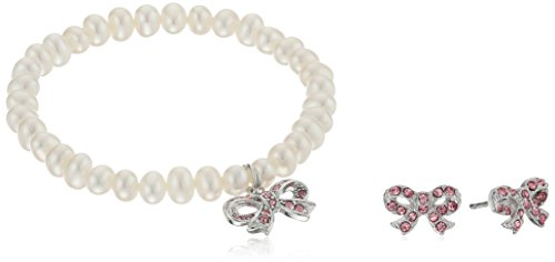 Girls' Petite Simulated Pearl Bracelet with Sterling Silver Pink Czech Crystal Bow Charm and Matching Stud Earrings Set