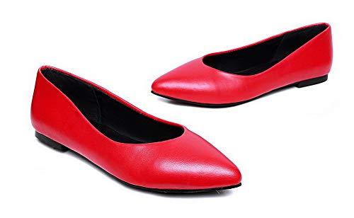 Aalardom Femme Unie Fermeture Rouge Talon Chaussures Légeres D'orteil Tsfdh002723 À Couleur Bas 77wrF6q