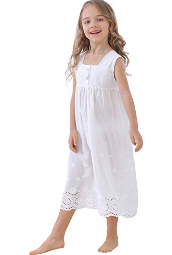 Cotton Embroidered Nightgown - UQ Kids Girls Embroidered Lace Cotton Princess Nightgowns Sleepwear Dress Toddler 3-12 Years Off White