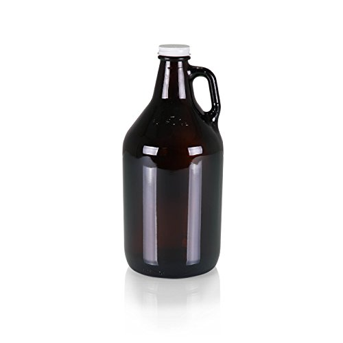 Picnic Time 'Amber Glass Growler Jug' with Handle and Steel Twist Off Lid, 64-Ounce
