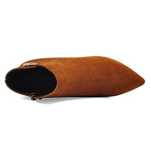 Botines uk Marrón Comfy Para Gamuza 5 Fiesta Vestido Mujer 38 Negro De Bloque Zapatos eu brown 5 Botas Tobillo Boda Cremallera Tacón Invierno wA68xRq