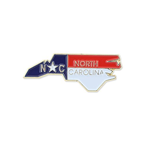 North Carolina State Shape Outline and North Carolina State Flag Lapel Pin -- Bulk Value Pack Available! (1 Pin)
