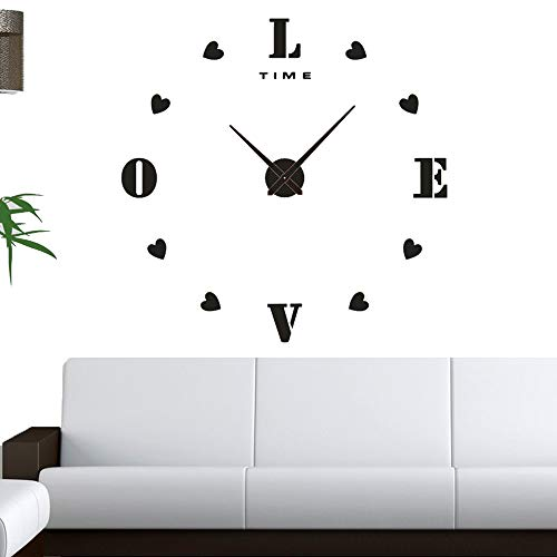 DIY Clock - The Perfect Treat Yourself with Adhesive Frameless Clock Kit - Modern Decorations - Upgrade Any Home in a Short Time -Do It Yourself Clock (Love, ()